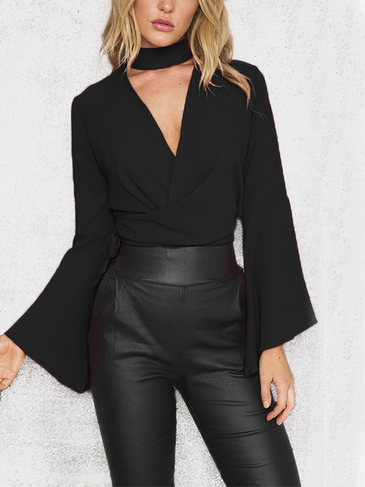 Black Fashion Halter Cut Out Crossed Front Self-tie Flare Sleeves Crop Top