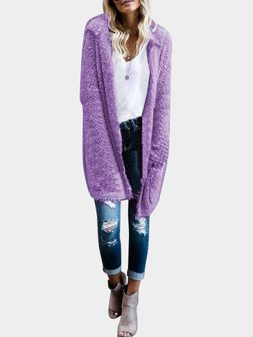 Purple Hooded Design Open Front Large Pockets Long Sleeves Reversible Cardigan