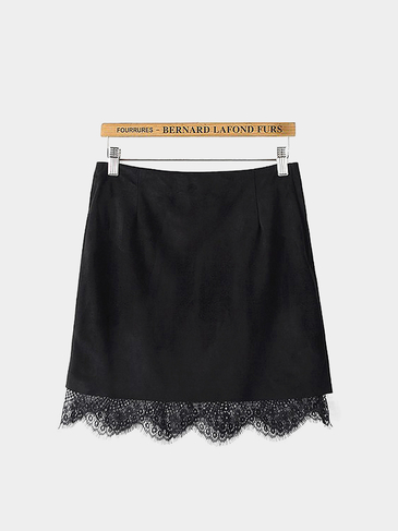 Black Suede Mini Skirt with Lace Hem