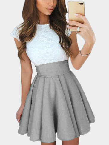 Grey Skater High-waisted Mini Skirt With Elastic Band