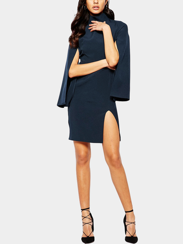Cape Sleeve Turtle Neck Split Dress