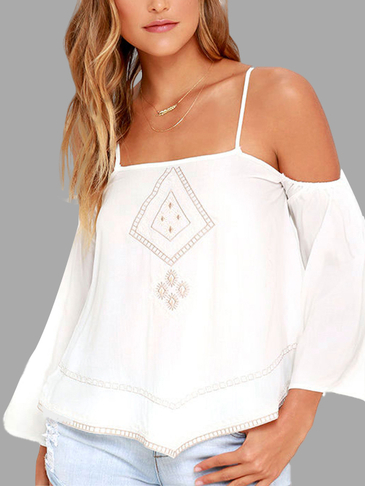 Cold Shoulder Embroidery Pattern Blouse