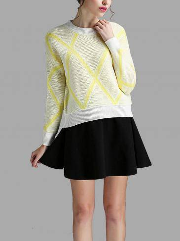 Желтый ромб Pattern Jumper и Flounced Hem мини-юбка