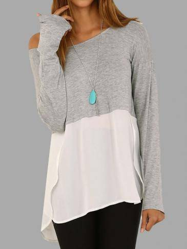 Splicing Long Sleeves Curved Hem T-shirt