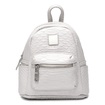 Metallic Croc Leder-Look Mini-Rucksack in Grau