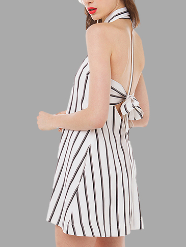Stripe Patter Halter Neck Backless Lace-Up Dress