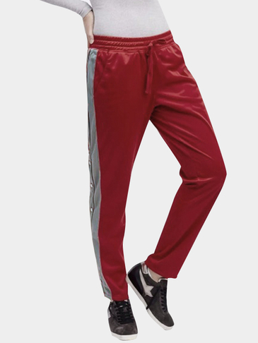 Red Drawstring Waist Side Stripe & Studs Casual Pants