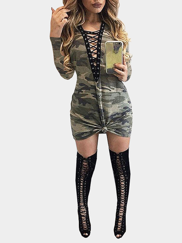 Sexy Camouflage Deep V-neck Lace-up Design Party Dress