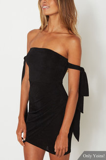 Black Strapless Mini Dress with Tie Up Sleeves