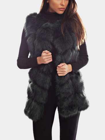 Black Artificial Fox Gilet Outerwear