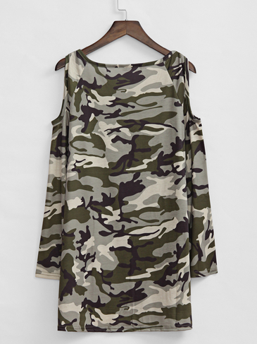 Camouflage Pattern Cold Shoulder Loose fit T-shirt