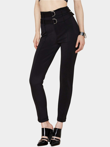 Black High Waist D-ring Skinny Trousers