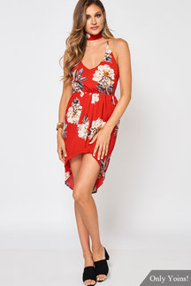 Random Floral Print Sexy V Neck Backless Self-tie Midi Dress