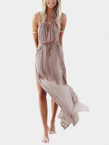 Bohemia Sleeveless Back Lace-up Side Split Beach Maxi Kleid
