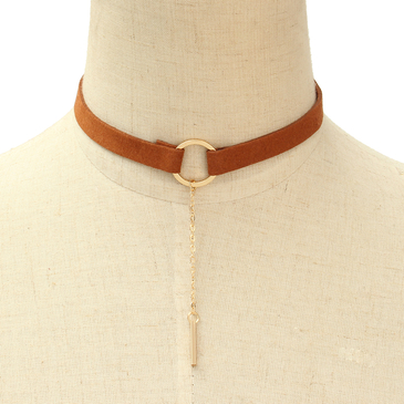 Fashion Brown Suede Ribbon Golden Plated Vertical Bar Necklace