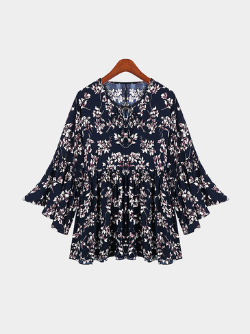 Plus Size Navy Floral Print Folk Blouse