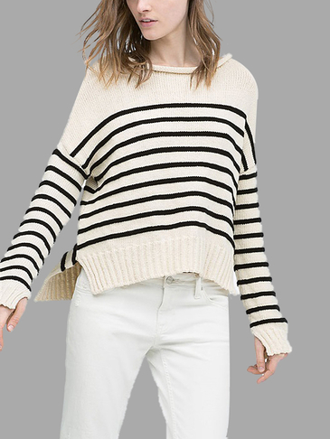Stripe Pattern Splited Hem Knitwear