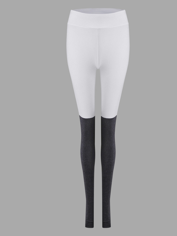 White & Grey Elastic Yoga Leggings