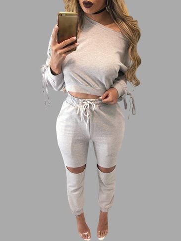 Grey Lace-up Design Crop Top & Drawstring Waist Pants Suits