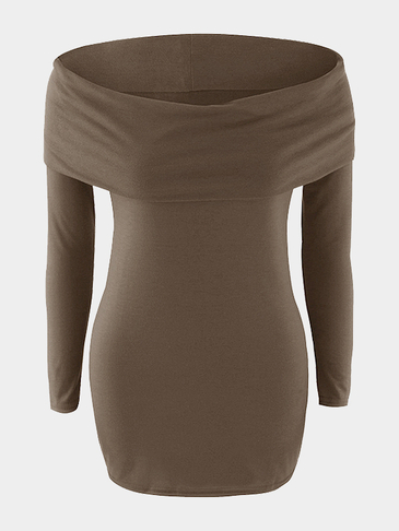 Coffee Off Shoulder Bodycon Mini Dress with Over-layer