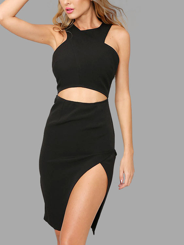 Black Sleeveless Irregular Hem Mini Dress with Cut Out Detail