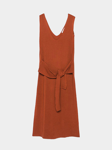 Sleeveless Plunge Neck Knit Dress