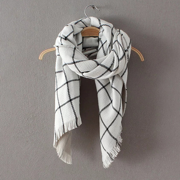 White Cape Woven Plaid Scarves