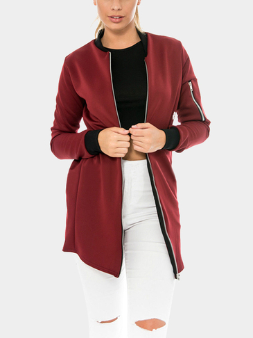 Red Fashion Stand Collar Jacke