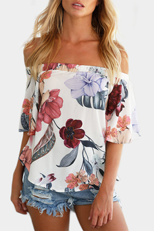 Sexy Off Shoulder Random Floral Print T-shirt