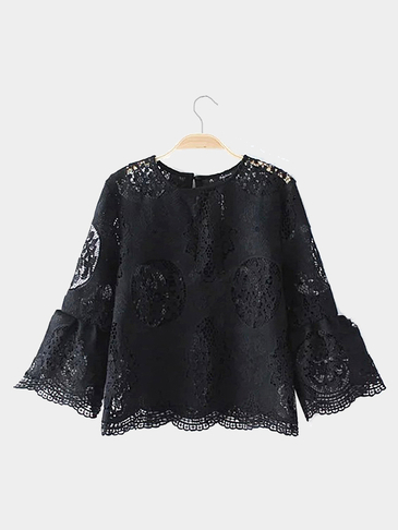 Black 3/4 Length Sleeve Sheer Lace Top with Round Neck