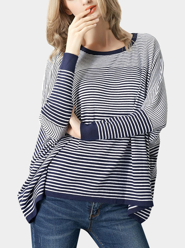 Blue Gradient Stripe Knitted Jumper with Batwing Sleeves