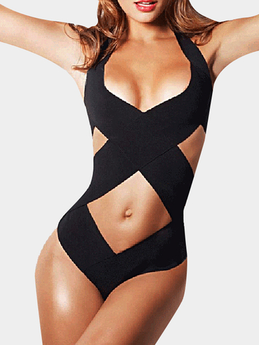 Black Low Cut V-neck Hollow Out One-Piece Bikinis
