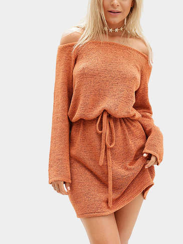 Orange Sexy Off Shoulder Self-tie Design Dress
