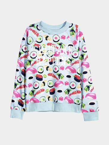 Sushi and Letter Print Pattern Sweatshirt