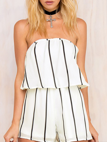 Semi Sheer Stripe Pattern Strapless Playsuit