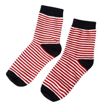 Red & Navy Pinstripe Crew Socks