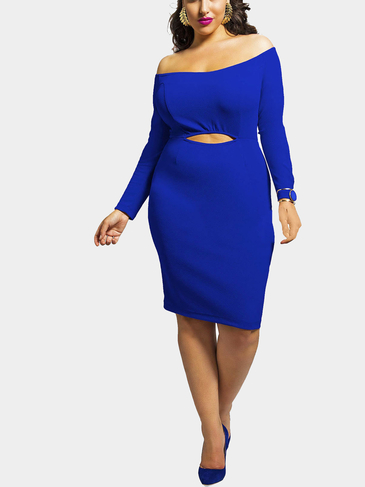 Blue Plus Size Off The Shoulder Dress with Cut Out Front