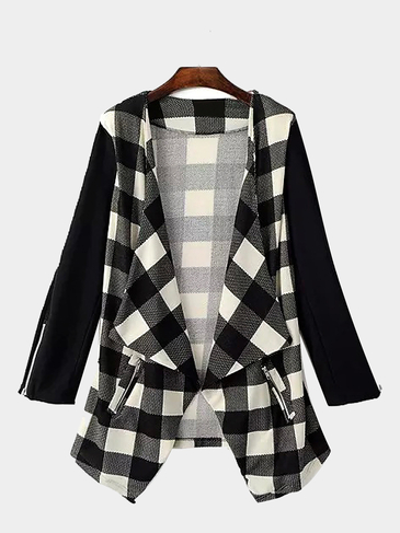 Waterfall Checked Cardigan