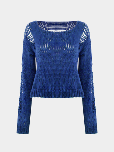 Loose Hollow Out Knitted Jumper in Blue