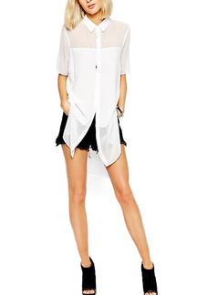 White Irregular Chiffon Shirts With Short Sleeve