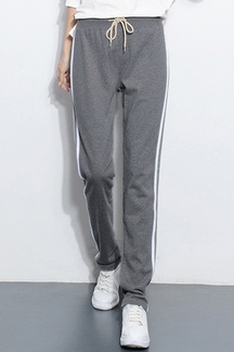 Dark Gray Casual Trousers With Drawstring Waist