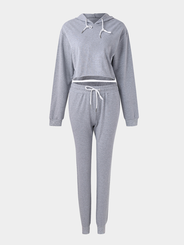Gray Hoodie Crop Top & Drawstring Waist Pants Sports Suit