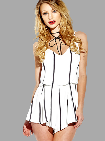 Semi Sheer Stripe patrón Open Back Playsuit