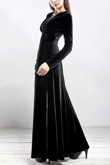 Black Wrap Front Velvet Maxi Dress
