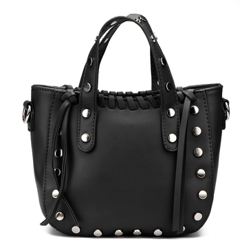 Black Rivet and Tassel Embellished Shoulder Bag
