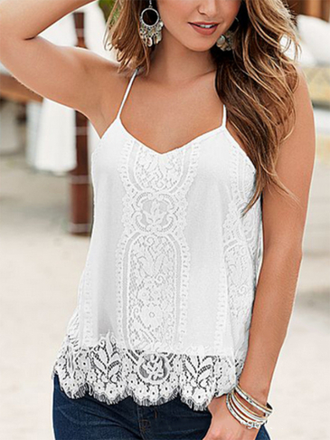 White Lace Details V-neck Sleeveless Cami