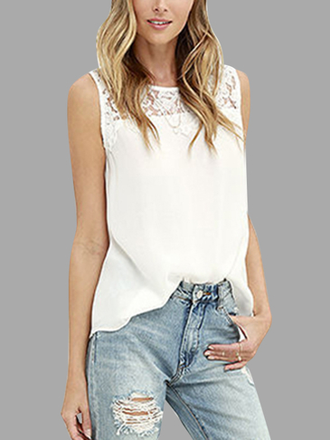 White Lace Details Round Neck Sleeveless Camis & Vests