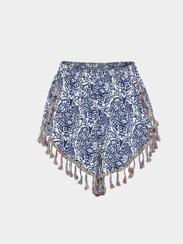 Folk Print Shorts With Pom Pom Hem