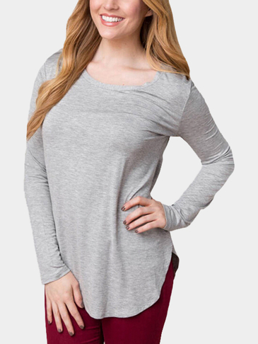 Round Neck Curved Hem Shirt