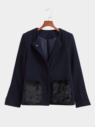Navy Blue Loose Fit Short Outerwear with Fur Pockets Design